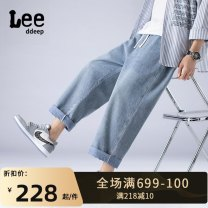 Jeans Youth fashion XOQ M,L,XL,2XL,3XL,4XL Blue, black routine No bullet Regular denim K08-K862-2 Ninth pants rain Cotton 49.9% polyester 26% regenerated cellulose 21% others 3.1% Four seasons teenagers middle-waisted Loose straight tube tide Straight foot zipper Three dimensional tailoring washing
