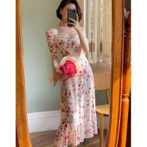 Dress Summer 2020 XS,S,M,L Mid length dress singleton  Short sleeve commute square neck High waist Decor Socket other other 18-24 years old Type H Retro More than 95% other polyester fiber