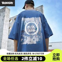 T-shirt Youth fashion routine 3XL 165/S 170/M 175/L 180/XL 185/2XL 4XL 5XL Bvvogutt / Baoji elbow sleeve Crew neck easy daily spring BVVOGUTTQ214-466153 Cotton 100% Large size Off shoulder sleeve tide Cotton wool Spring 2021 character printing cotton Creative interest No iron treatment Fashion brand