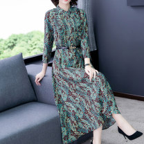 Dress Summer 2020 Red green M L XL 2XL 3XL Mid length dress singleton  three quarter sleeve commute stand collar Loose waist Decor Single breasted Big swing routine Others 40-49 years old Type A Ah Ping, ah Cheng Retro Pleated button zipper print More than 95% other Other 100%