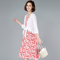 Dress Summer 2020 Black, red XL,L,M,XXL Mid length dress Two piece set commute Elastic waist Broken flowers Socket A-line skirt straps 25-29 years old Type A Girl in the fog Pleating, printing 81% (inclusive) - 90% (inclusive) other