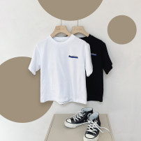 T-shirt Black, white, black pre-sale, white pre-sale Le Yue Lue 80cm,90cm,100cm,110cm,120cm,130cm,140cm male summer Short sleeve Crew neck leisure time There are models in the real shooting nothing cotton printing 212TX003 Sweat absorption Two, three, four, five, six, seven, eight, nine