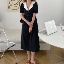 Dress Summer 2020 White, black S, M Mid length dress singleton  Short sleeve Other / other