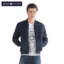 Jacket JESS&TONY Youth fashion Navy Blue XXL S M L XL routine standard Other leisure spring MJ191J18 Polyester 100% Long sleeves Wear out stand collar Youthful vigor youth routine Zipper placket Rib hem Closing sleeve stripe Spring of 2019 Same model in shopping mall (sold online and offline)