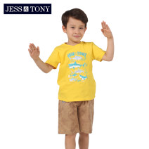 T-shirt JESS&TONY 110cm 120cm 130cm 140cm 150cm 160cm male summer Short sleeve Crew neck leisure time There are models in the real shooting nothing cotton Cartoon animation Cotton 100% Class B Sweat absorption Summer of 2019 Five, six, seven, eight, nine, ten, eleven, twelve Chinese Mainland