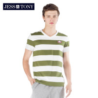 T-shirt Youth fashion Yarn dyed green yarn dyed blue routine S M L XL XXL JESS&TONY Short sleeve V-neck standard daily summer MJ192T68 Cotton 100% youth routine Youthful vigor Summer of 2019 stripe cotton Geometric pattern Domestic famous brands Same model in shopping mall (sold online and offline)