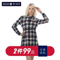 Dress Autumn of 2018 Dyed Plaid dark red plaid blue S M L XL XXL XXXL Middle-skirt Long sleeves commute Polo collar Loose waist lattice Single row two buttons A-line skirt routine Others 25-29 years old JESS&TONY lady WJ183L13 More than 95% other cotton Cotton 100%