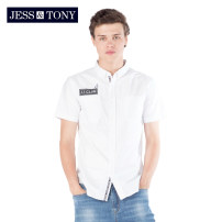 shirt Youth fashion JESS&TONY S M L XL XXL routine Pointed collar (regular) Short sleeve standard daily summer youth Cotton 100% Youthful vigor 2019 Solid color Summer of 2019 cotton Same model in shopping mall (sold online and offline) More than 95%