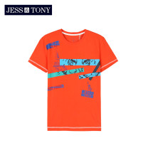 T-shirt Youth fashion Bleached orange routine S M L XL XXL JESS&TONY Short sleeve Crew neck standard daily summer MJ192T57 Cotton 100% youth routine Youthful vigor Summer of 2019 other cotton Human landscape Domestic famous brands Same model in shopping mall (sold online and offline) More than 95%