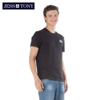 T-shirt Youth fashion Bleached black routine XXL S M L XL JESS&TONY Short sleeve Crew neck standard daily summer MJ192T45 Cotton 100% youth routine Youthful vigor Summer of 2019 cotton Brand logo Domestic non famous brands Same model in shopping mall (sold online and offline) More than 95%