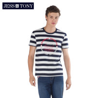 T-shirt Youth fashion Yarn dyed stripe blue yarn dyed stripe gray routine S M L XL XXL JESS&TONY Short sleeve Crew neck standard daily summer MJ192T71 Cotton 100% youth routine Youthful vigor Summer of 2019 Alphanumeric cotton Brand logo Domestic non famous brands More than 95%