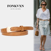 Belt / belt / chain top layer leather Brown Black female belt Versatile Single loop Youth Pin buckle Glossy surface Glossy surface 1.5cm alloy alone Fonkvxn / wind dancing dust GP-0981-2252862 Summer 2020 no