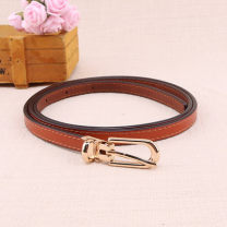 Belt / belt / chain top layer leather Brown grey light brown white red black female belt Versatile Single loop Pin buckle Glossy surface soft surface 1cm alloy Fonkvxn / wind dancing dust 8884563fl5637268998192453900_ forty-eight Summer 2020