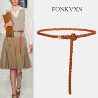 Belt / belt / chain top layer leather Brown red coffee Versatile Glossy surface 1cm Fonkvxn / wind dancing dust 89566-5530164 Spring 2021