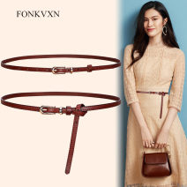 Belt / belt / chain top layer leather Red brown (ring style) black (leather ring style) deep coffee (leather ring style) Brown (leather ring style) female belt Versatile Single loop Young and middle aged Pin buckle Glossy surface Glossy surface 1cm alloy alone Fonkvxn / wind dancing dust 95cm 102cm