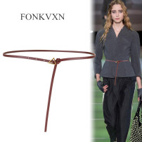 Belt / belt / chain Double skin leather Coffee apricot white red brown black Versatile 0.7cm alloy Fonkvxn / wind dancing dust Spring 2021