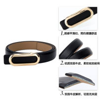 Belt / belt / chain Double skin leather Silver Buckle - Black Silver Buckle - White Silver Buckle - Red Gold Buckle - Black Gold Buckle - White Gold Buckle - red female belt leisure time Single loop Youth Smooth button Glossy surface Glossy surface 3.8cm alloy alone Fonkvxn / wind dancing dust no
