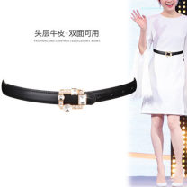 Belt / belt / chain top layer leather female belt Versatile Single loop Young and middle aged Smooth button Diamond inlay Glossy surface 2cm alloy Naked water drill Fonkvxn / wind dancing dust Summer 2020