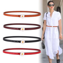 Belt / belt / chain Double skin leather Brown yellow brown reddish brown white red black female belt Versatile Single loop Smooth button Flower design soft surface 1.4cm alloy Fonkvxn / wind dancing dust 85365qwl30637266245098775315_ forty-seven 95cm 105cm Summer 2020