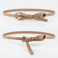 Belt / belt / chain top layer leather Brown apricot dark blue white pink red yellow black female belt Sweet Single loop Youth bow soft surface 1.3cm Bare rivet bow candy Fonkvxn / wind dancing dust MZ37635712_ 1135725224857_ five thousand nine hundred and eleven 105cm 110cm Spring 2020 no
