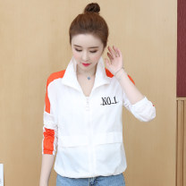 short coat Summer 2021 S. M, l, XL, quantity finite element method Bright yellow, orange red Long sleeves routine Thin money singleton  easy commute other stand collar zipper letter Other / other 81% (inclusive) - 90% (inclusive) zipper Cellulose acetate nylon