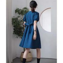 Dress Summer 2021 Blue dress S M L XL Mid length dress singleton  Short sleeve commute V-neck High waist Solid color other Others 18-24 years old Type A Disco cool Retro 116w More than 95% other Other 100% Pure e-commerce (online only)