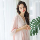 Nightdress Raduo Pink 155(S) 160(M) 165(L) Sweet Short sleeve Leisure home Middle-skirt Solid color youth V-neck Embroidery 81% (inclusive) - 95% (inclusive) Summer 2020 Cotton 93% polyurethane elastic fiber (spandex) 7% Pure e-commerce (online only)