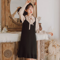 Dress Autumn 2020 Blue apricot orange S M L XL Middle-skirt Fake two pieces Long sleeves Sweet stand collar High waist Solid color Socket Ruffle Skirt routine Others 18-24 years old Type A Han Xuanwei Lace up stitching of lotus leaf and Auricularia auricula HXW4388 More than 95% knitting other Mori