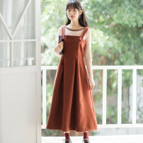 Dress Winter of 2019 Caramel Caramel skirt + Khaki sweater [two piece set] S M L XL Mid length dress singleton  Sleeveless commute other High waist Solid color Socket Big swing other straps 18-24 years old Type A Han Xuanwei Retro Button HXW2701 More than 95% other other Other 100%