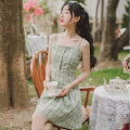 Dress Summer 2021 green S M L XL Mid length dress singleton  Sleeveless commute High waist lattice Socket A-line skirt camisole 18-24 years old Type A Han Xuanwei literature HXW5214 More than 95% other Other 100% Pure e-commerce (online only)