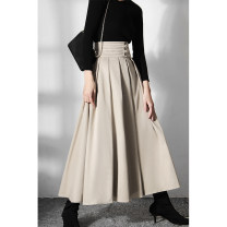 skirt Spring 2021 S. M, l, XL, s pre-sale 10 working days, m pre-sale 10 working days, l pre-sale 10 working days, XL pre-sale 10 working days Apricot Mid length dress Versatile High waist A-line skirt Solid color Type A 18-24 years old 51% (inclusive) - 70% (inclusive) other polyester fiber