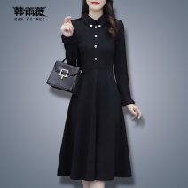 Women's large Winter 2020 Black 0316 (plush) black 0321 (regular) L XL 2XL 3XL 4XL 5XL Dress singleton  commute Self cultivation moderate Socket Long sleeves Solid color Korean version Polo collar routine HJ2086CF03164727 Han Yuwei 30-34 years old Button 91% (inclusive) - 95% (inclusive)