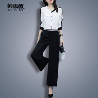 Women's large Spring 2020 3216 long sleeve suit 3221 short sleeve suit L XL 2XL 3XL 4XL 5XL Two piece set commute easy moderate Cardigan Long sleeves stripe Korean version V-neck routine routine HJ3032AF32163169 Han Yuwei 30-34 years old Button 91% (inclusive) - 95% (inclusive) Polyester 97% other 3%