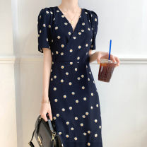 Dress Summer 2020 navy blue S,M,L,XL,2XL,3XL Mid length dress singleton  Short sleeve V-neck