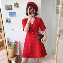 Women's large Summer of 2019 Red, yellow, black Large XL, large L, 2XL, 3XL, 4XL, M Dress singleton  Short sleeve Other / other Short skirt