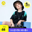 T-shirt black AB (mother infant) 110cm 120cm 130cm 140cm 150cm 160cm male summer Short sleeve Crew neck leisure time There are models in the real shooting nothing cotton other Cotton 100% Class B Summer 2021