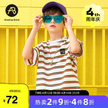 T-shirt Khaki AB (mother infant) 110cm 120cm 130cm 140cm 150cm 160cm male summer Short sleeve Crew neck leisure time There are models in the real shooting nothing other stripe Cotton 92.6% polyurethane elastic fiber (spandex) 7.4% T-A212-000408 Class B Summer 2021