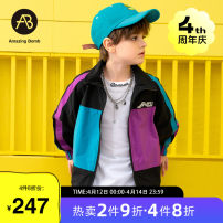 Plain coat AB (mother infant) male 110cm 120cm 130cm 140cm 150cm 160cm Decor spring and autumn leisure time Zipper shirt There are models in the real shooting routine nothing other Lapel T-A211-013710 Polyester 100% Class C Spring 2021
