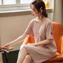 Nightdress sexy Short sleeve pajamas Middle-skirt summer heart-shaped youth Crew neck cotton Embroidery More than 95% pure cotton 200g and below Summer 2020 Cotton 95% polyurethane elastic fiber (spandex) 5% Pure e-commerce (online only)