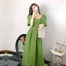 Women's large Summer 2020 green S M L XL Dress singleton  commute Self cultivation Socket Short sleeve Solid color Korean version square neck Medium length puff sleeve Bai Cuishi (costume) 18-24 years old 71% (inclusive) - 80% (inclusive) longuette Other 100% Pure e-commerce (online only)