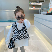T-shirt white Other / other 90cm,100cm,110cm,120cm,130cm,140cm female spring and autumn Long sleeves Crew neck Korean version There are models in the real shooting nothing cotton Zebra pattern Other 100% other other Chinese Mainland Zhejiang Province Hangzhou