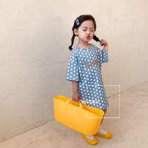 Dress Light blue, off white female Other / other 80cm,90cm,100cm,110cm,120cm,130cm Other 100% spring and autumn Korean version Short sleeve Solid color cotton Lotus leaf edge other 12 months, 18 months, 2 years old, 5 years old, 3 years old, 4 years old, 6 years old, 7 years old, 8 years old Hangzhou