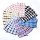 skirt Summer 2020 XS S M L XL 2XL Ruby blue girl pink black and white check popular purple Matcha green light blue check Short skirt Sweet High waist Pleated skirt lattice Type A 18-24 years old BMD-6853 brocade Boumanteau Pleated zipper stitching Pure e-commerce (online only) college