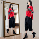 Women's large Autumn 2020 Black red M L XL XXL 3XL Other oversize styles Two piece set commute easy moderate Socket Long sleeves Abstract pattern Korean version Crew neck routine Three dimensional cutting routine M523M523 Shuangdai 30-34 years old Resin fixation Other 100% Cropped Trousers