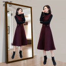 Women's large Winter of 2019 M L XL XXL 3XL Dress Two piece set commute Self cultivation thickening Socket Long sleeves Solid color Korean version Crew neck Medium length Three dimensional cutting routine Shuangdai 30-34 years old pocket Medium length Other 100% Pure e-commerce (online only) straps