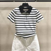 T-shirt black 2 / s, 3 / m, 4 / L, 5 / XL, 6 / XXL Summer 2021 Short sleeve Polo collar Self cultivation Regular routine commute cotton 96% and above Simplicity classic Thick horizontal stripe Pinge Dixin