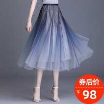 skirt Spring 2021 Average size Black [cool summer] Mid length dress commute High waist Pleated skirt other Type A XMY2113 More than 95% Ximei other Pleated bright silk gauze Retro Other 100% Pure e-commerce (online only)