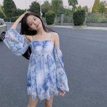 Dress Summer 2020 blue S,M,L longuette singleton  Sleeveless commute One word collar High waist Socket A-line skirt camisole Type A Korean version Lotus leaf edge Chiffon
