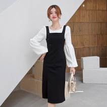 Dress Autumn 2020 Single thickened Chiffon Top single thickened black skirt thickened Chiffon Top + thickened black skirt S M L XL 2XL longuette Two piece set Long sleeves commute Crew neck High waist Solid color Socket A-line skirt straps 25-29 years old Su Mo Button L4656 More than 95%