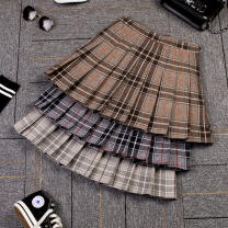 skirt Autumn of 2018 XS S M L XL XXL 3XL Short skirt commute High waist Pleated skirt lattice Type A 18-24 years old Ann luhman Pleated zipper panel Korean version Pure e-commerce (online only)